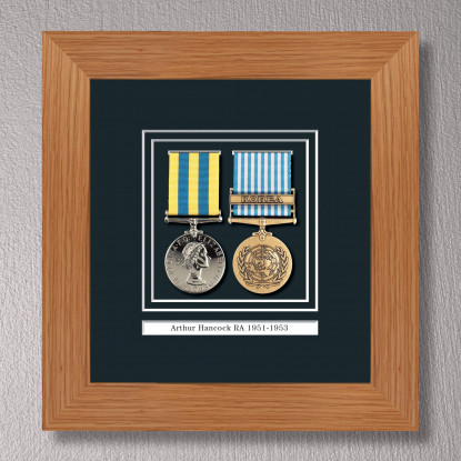 Light Oak Medal Frame for 2 Medals