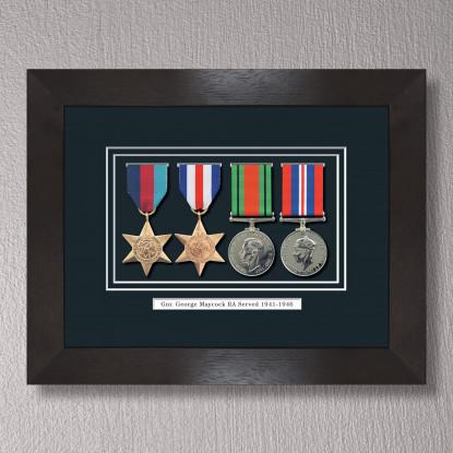 Black Stain Medal Frame for 4 Medals