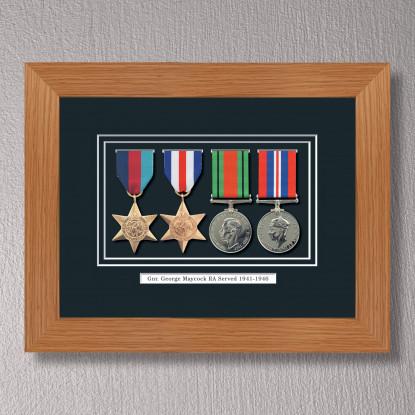 Light Oak Medal Frame for 4 Medals