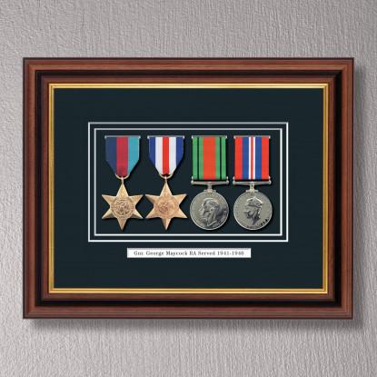 Mahogany & Gilt Medal Frame for 4 Medals