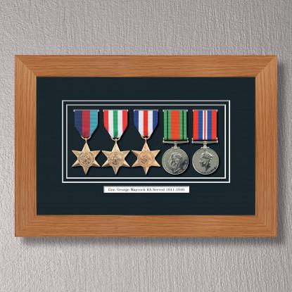 Light Oak Medal Frame for 5 Medals
