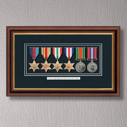 Mahogany & Gilt Medal Frame for 6 Medals