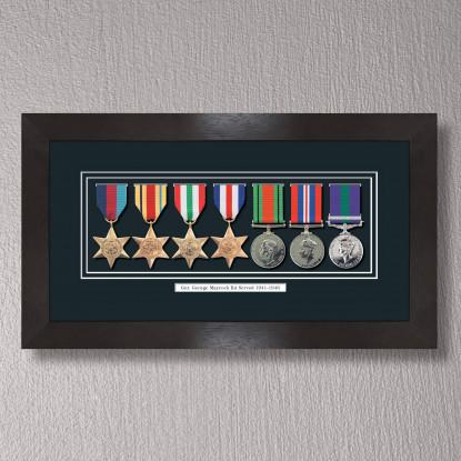 Black Stain Medal Frame for 7 Medals