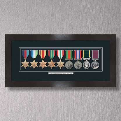 Black Stain Medal Frame for 9 Medals