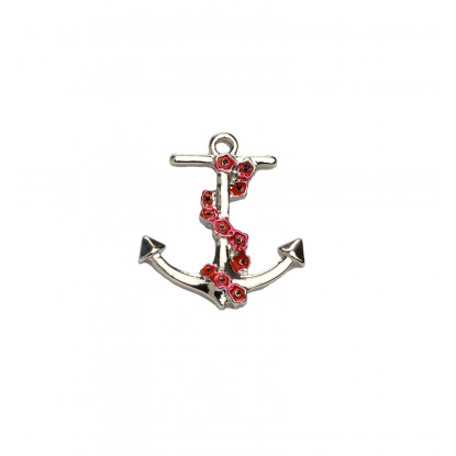 Anchor Poppy Chain Brooch