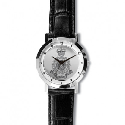 Army Regiment Watch with Black Leather Strap & Silver Dial