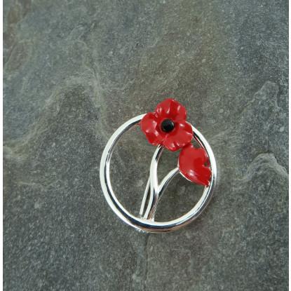 Silver Plated Red Poppy Brooch