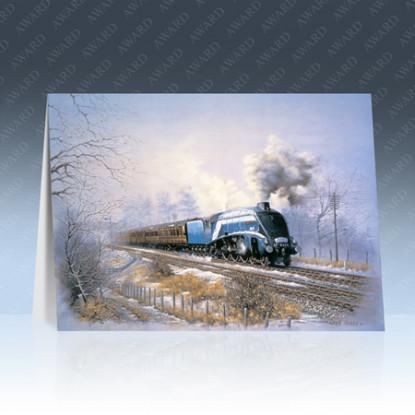 A Winters Tale Steam Train Locomotive Greeting Card