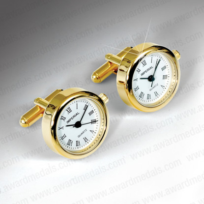 Gold Plated Clock Cufflinks