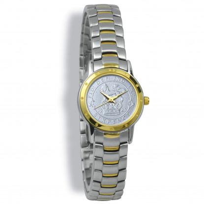 Contemporary, Ladies, Bi Toned Case, Bi Toned Bracelet, Silver Coin