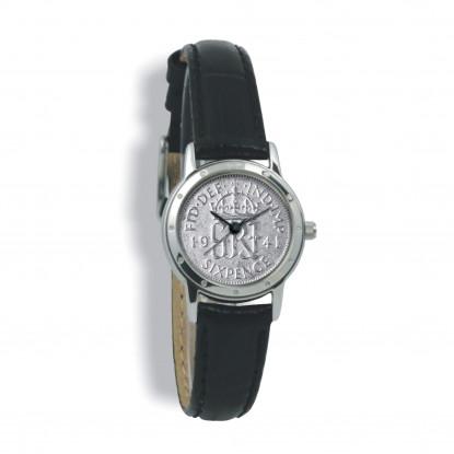 Contemporary, Ladies, Silver Case, Black Leather Strap, Silver Coin