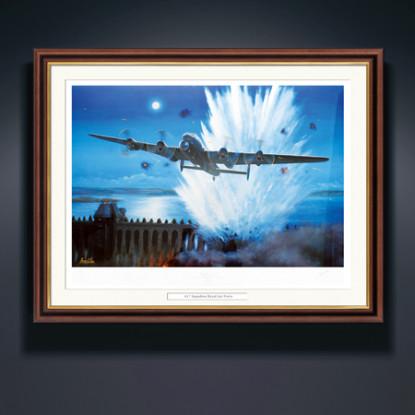 Personalised Dambusters Raid Print with Mahogany & Gilt Frame