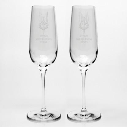 Engraved Dartington Champagne Flute Pair