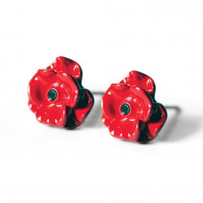 Enamelled Poppy Earrings