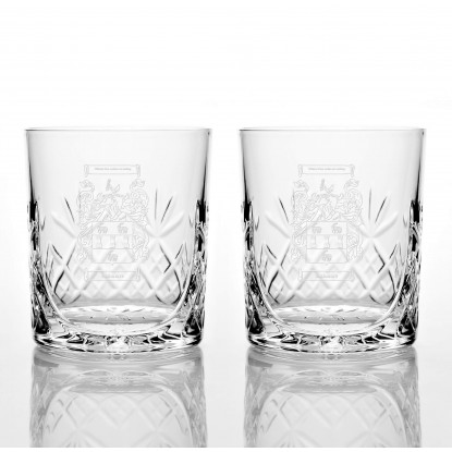 Two Family Crest Cut Glass Tumblers