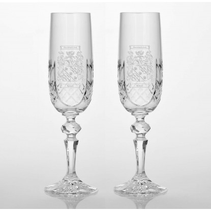 Military Panel Detail Flute Glass Set