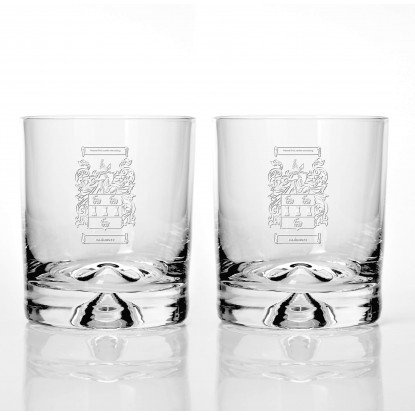 Two Family Crest Dimple Base Glass Tumblers