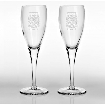 Set of Two Family Crest Flute Glasses