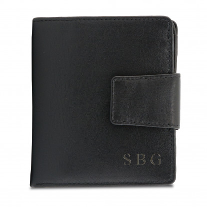 Personalised Black Leather Small Purse