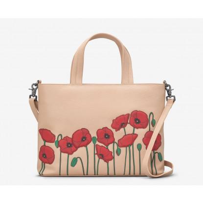 Poppy Flower Leather Grab Bag
