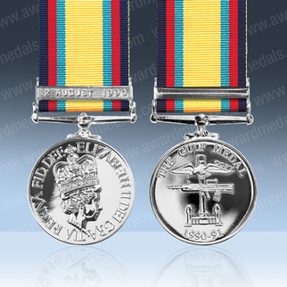 Gulf Medal With Clasp 2 August 1990 Miniature