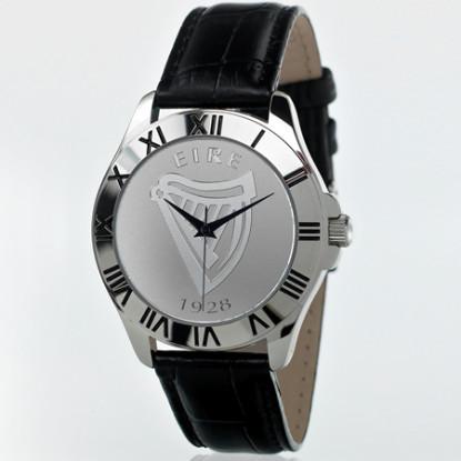 Mens Irish Black Leather Patriot Watch
