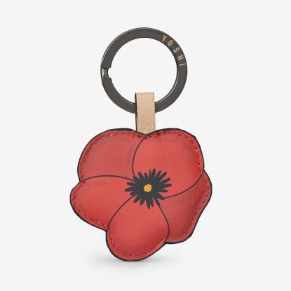 Poppy Flower Leather Key Ring