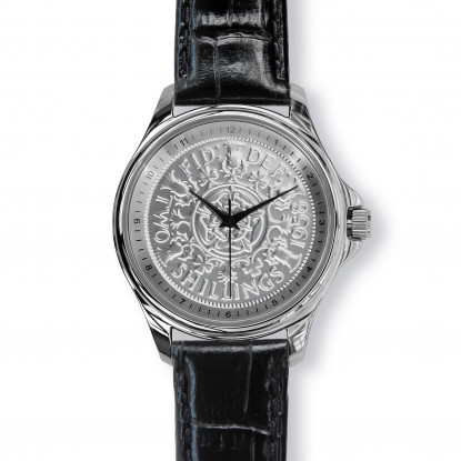 Lifestyle Coinwatch with Florin, Silver Case and Black Leather Strap