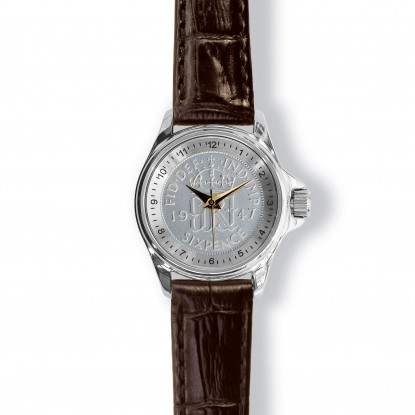 Lifestyle Coinwatch With Sixpence, Silver Case And  Tan Leather Strap