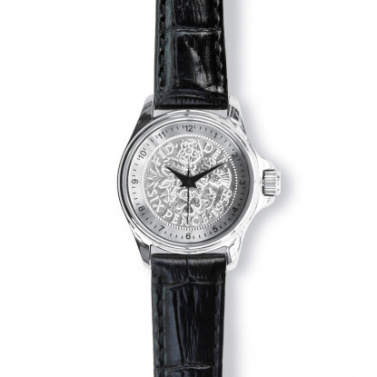 Lifestyle Ladies Watch With Silver Case And Black Leather Strap