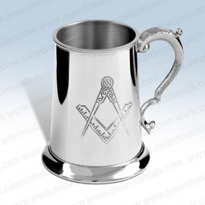 Masonic Pewter Tankard