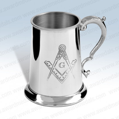 Masonic Pewter Tankard with G