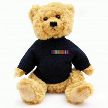 Military Teddy Bear with Navy Jumper & Medal Ribbon