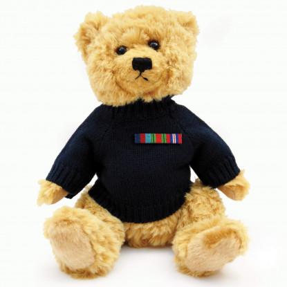Teddy Bear With Navy Blue Jumper & Ribbon Bar