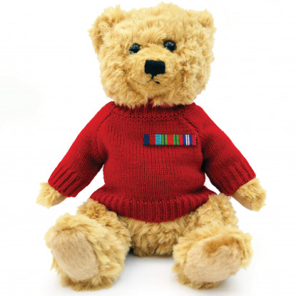 Military Teddy Bear with Red Jumper & Medal Ribbon