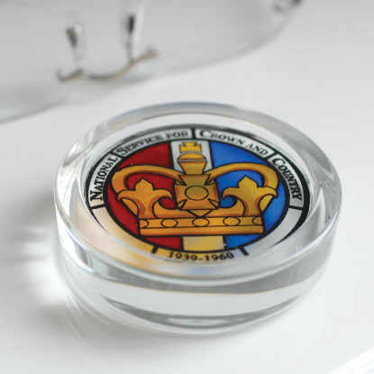 National Service Hand Painted Glass Paperweight