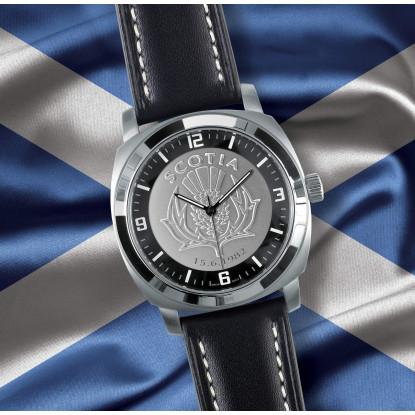 Black Leather Scottish Patriot Watch