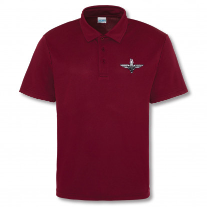 Embroidered Performance Polo Shirt Burgundy