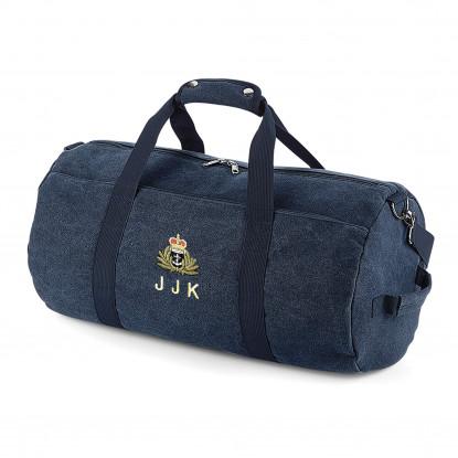 Vintage Oxford Navy Canvas Barrell Bag