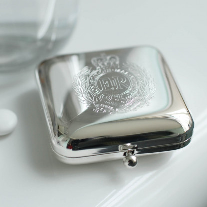 Silver Pill Box Engraved Square Decorative Pillboxes