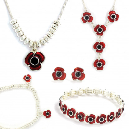 Complete Poppy Jewellery Collection with Silver Finish