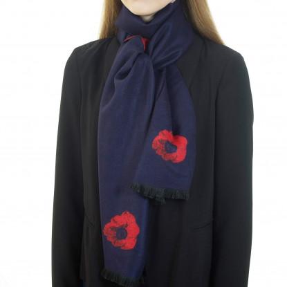 Poppy Navy Blue & Red Scarf
