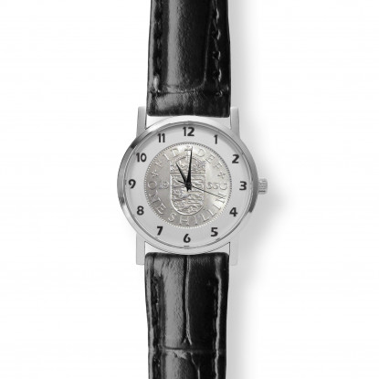 Queens Shilling Watch Black Leather Strap