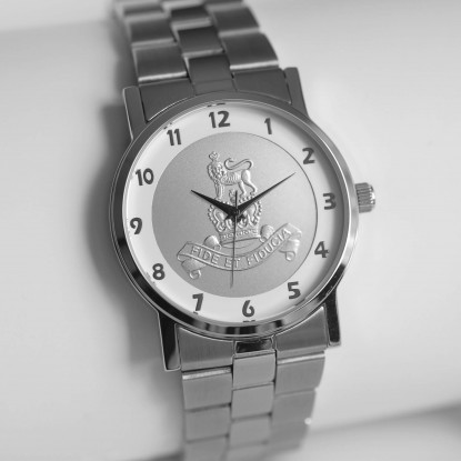 MILITARY WATCH SILVER STRAP   SILVER EMBLEM ROYAL ARMY PAY CORPS