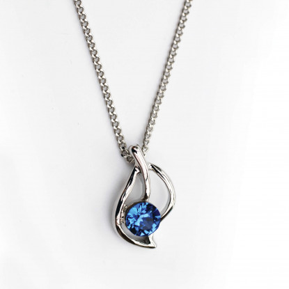 Sapphire Leaf Pendant