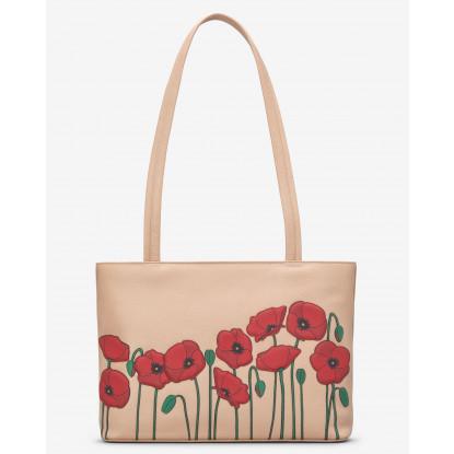 Poppy Flower Leather Shoulder Bag