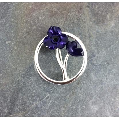 Silver Plated Purple Poppy Brooch