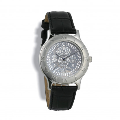Gents Summit, Silver Case, Black Leather Strap, Silver Coin
