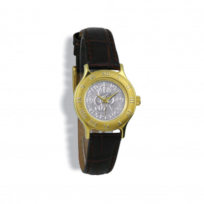 Summit Coinwatch, Ladies, Gold Case, Tan Leather Strap, Silver Sixpence
