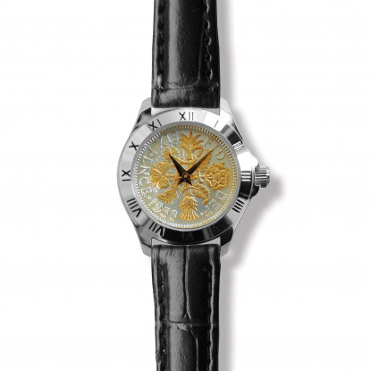 Tanner Watch With Silver Case, Two-tone Coin & Black Leather Strap